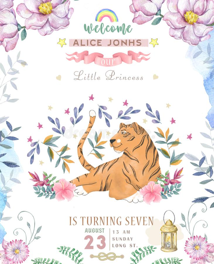 Happy birthday card with cute tiger Watercolor animal. Cute baby greeting card. Boho flowers and floral bouquets Happy Birthday. Set. Watercolor greeting baby stock illustration