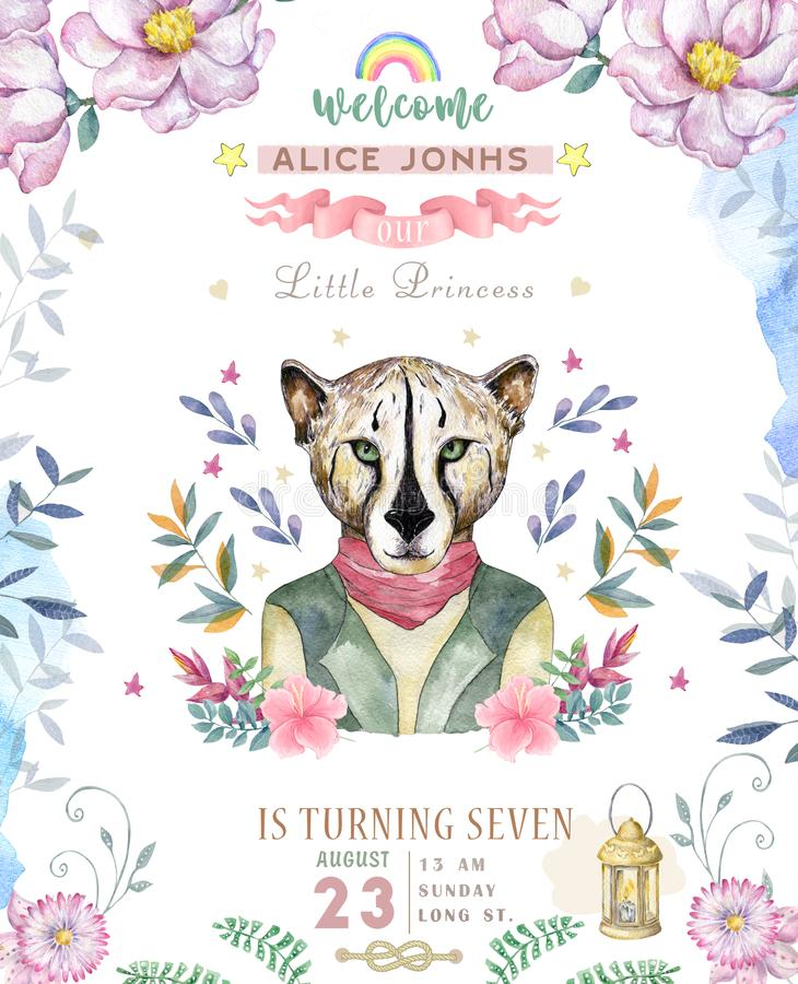 Happy birthday card with cute tiger Watercolor animal. Cute baby greeting card. Boho flowers and floral bouquets Happy Birthday. Set. Watercolor greeting baby vector illustration