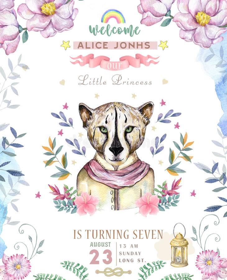 Happy birthday card with cute tiger Watercolor animal. Cute baby greeting card. Boho flowers and floral bouquets Happy Birthday. Set. Watercolor greeting baby royalty free illustration