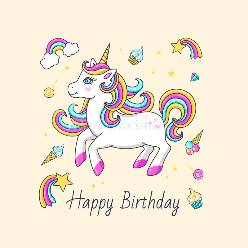 happy birthday card with cute unicorn stock vector