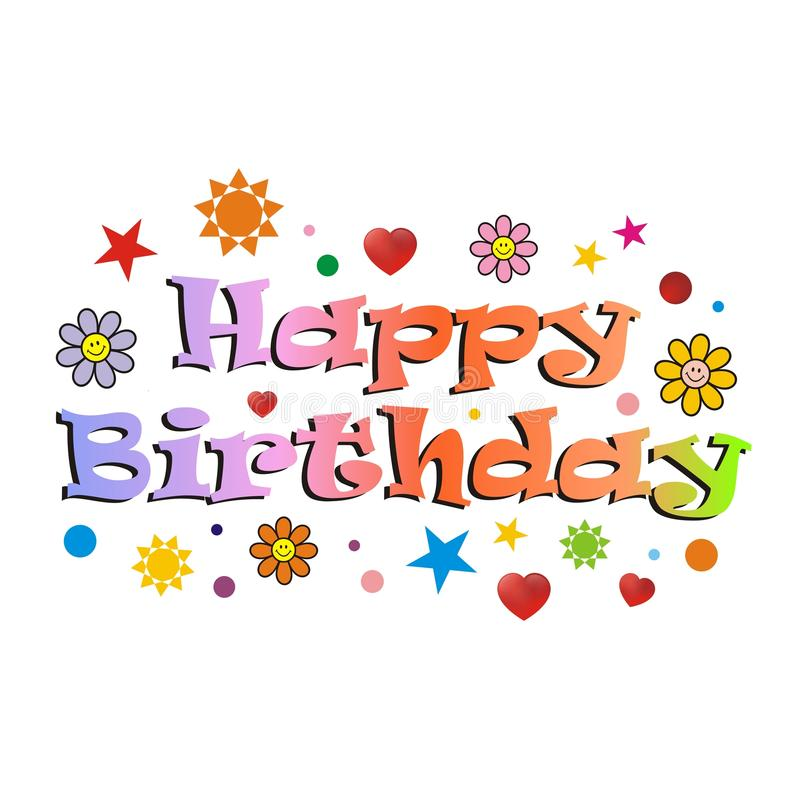 Happy birthday card. Design of colorful letter stock photography