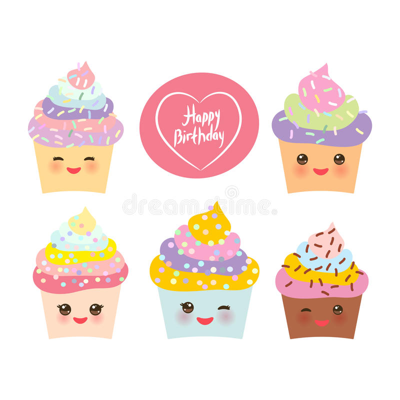 Happy Birthday Card design with Cupcake Kawaii funny muzzle with pink cheeks and winking eyes, pastel colors on white background. Vector illustration royalty free illustration