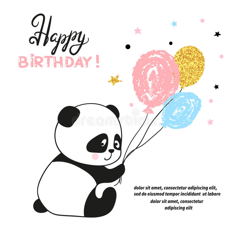 Happy birthday card design with cute panda bear and balloons stock download happy birthday card design with cute panda bear and balloons stock vector illustration bookmarktalkfo Image collections