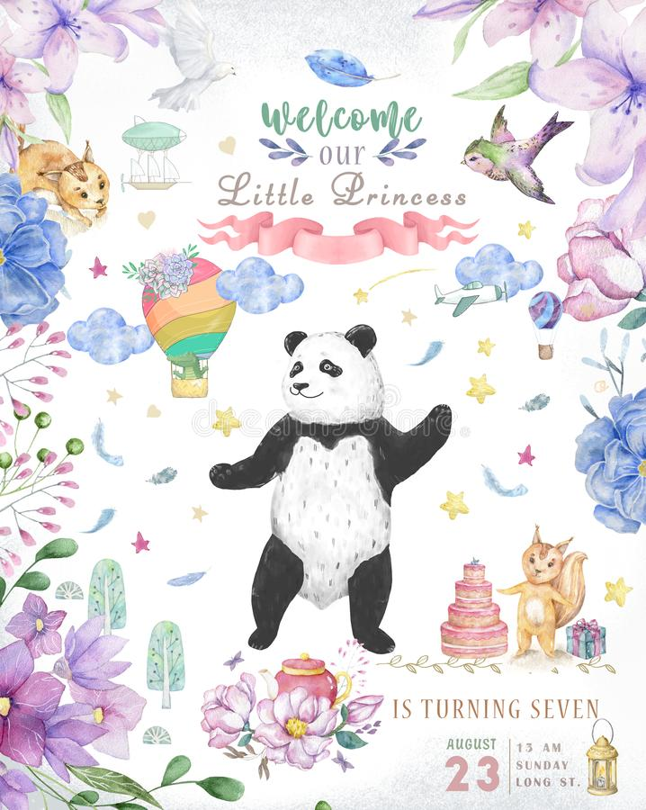 Happy Birthday card design with cute panda bear and boho flowers and floral bouquets illustration. Watercolor clip art for. Greeting card stock images
