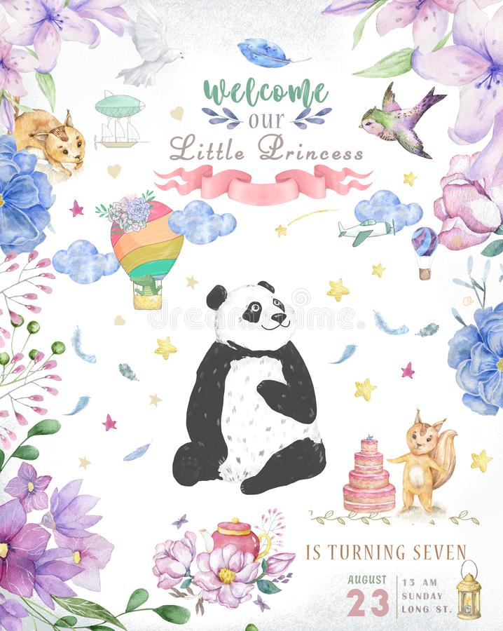 Happy Birthday card design with cute panda bear and boho flowers and floral bouquets illustration. Watercolor clip art for. Greeting card royalty free stock images