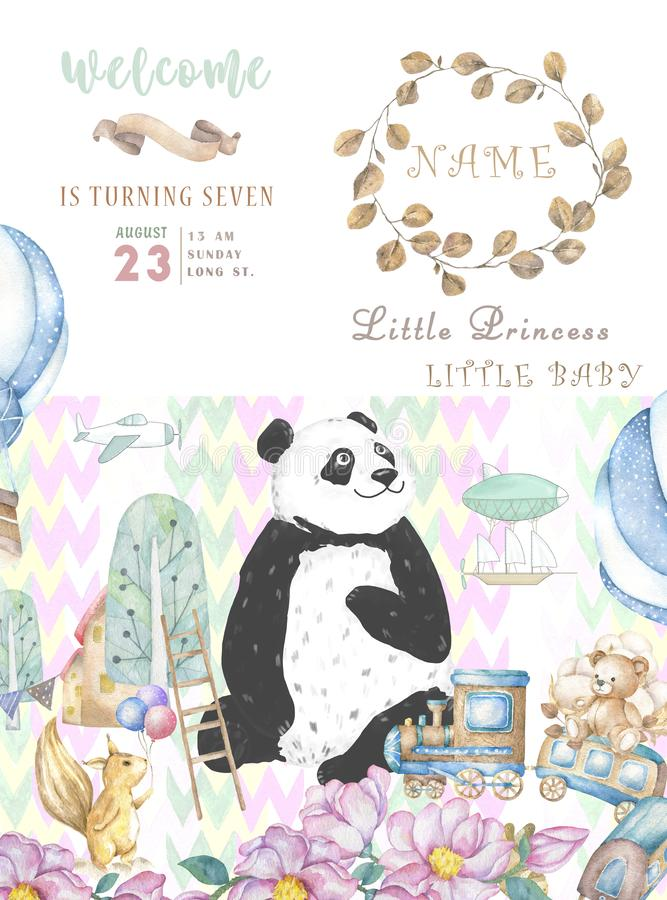 Happy Birthday card design with cute panda bear and boho flowers and floral bouquets illustration. Watercolor clip art for. Greeting card royalty free stock photography