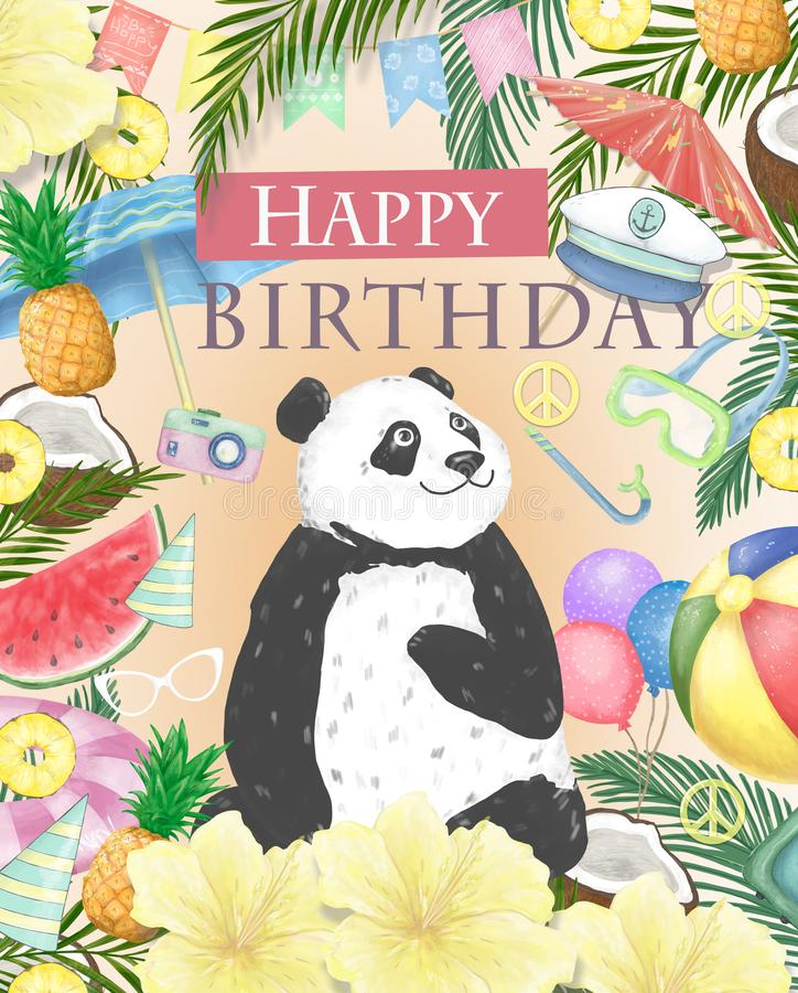 Happy Birthday card design with cute panda Watercolor isolated cute colorful bear clipart. Ilustration for greeting card royalty free illustration
