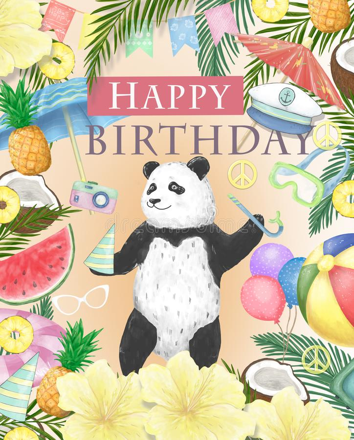 Happy Birthday card design with cute panda Watercolor isolated cute colorful bear clipart. Ilustration for greeting card. Happy Birthday card design with cute vector illustration