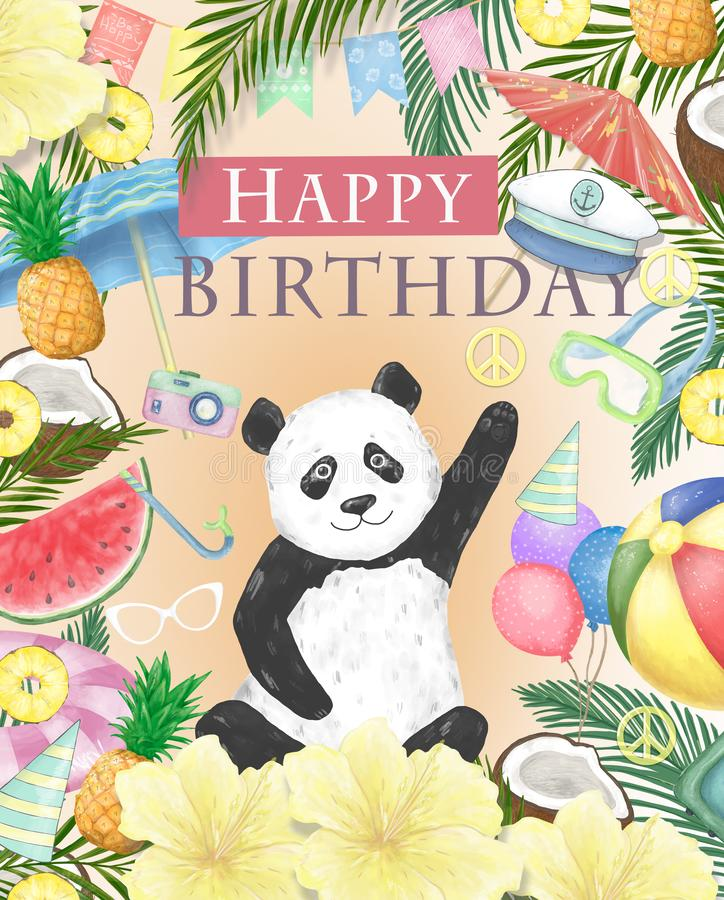 Happy Birthday card design with cute panda Watercolor isolated cute colorful bear clipart. Ilustration for greeting card. Happy Birthday card design with cute stock illustration