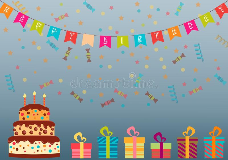 Happy birthday card design royalty free illustration