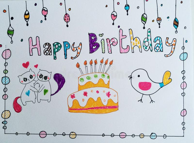 Happy birthday card. Drawing cute stock photo