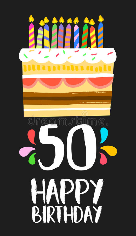 Happy Birthday card 50 fifty year cake. Happy birthday number 50, greeting card for fifty years in fun art style with cake and candles. Anniversary invitation stock illustration