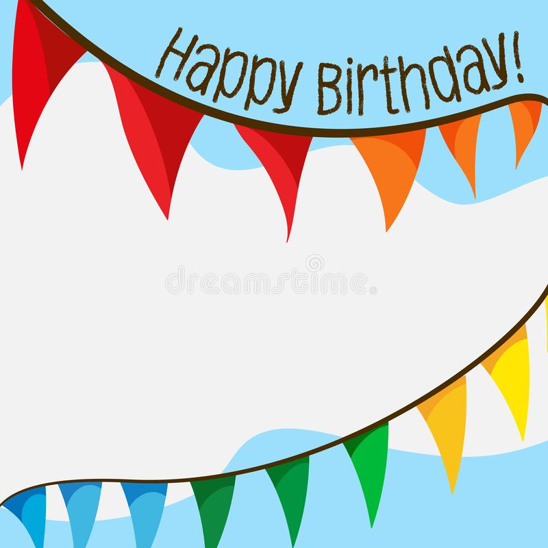 Happy birthday card with flags. Illustration royalty free illustration