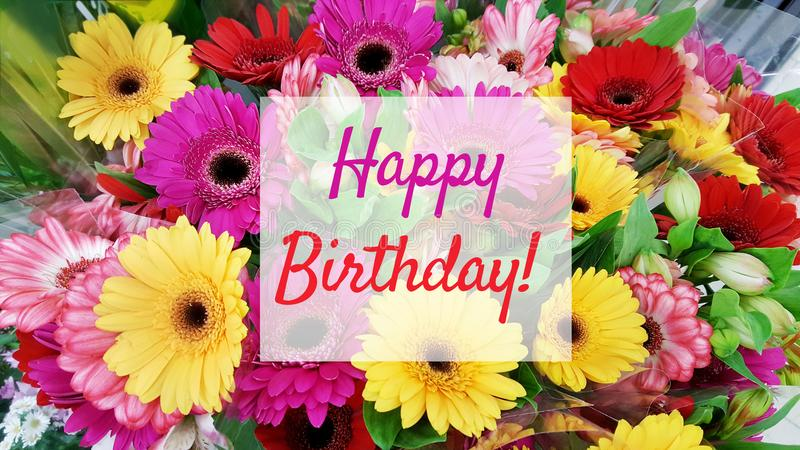 Happy Birthday Card with Flowers Background. Birthday greeting card with colorful flowers background royalty free stock photos