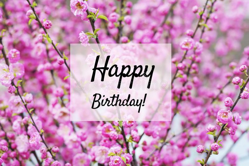Happy Birthday Card with Flowers Background. Birthday greeting card with colorful flowers background royalty free stock photo