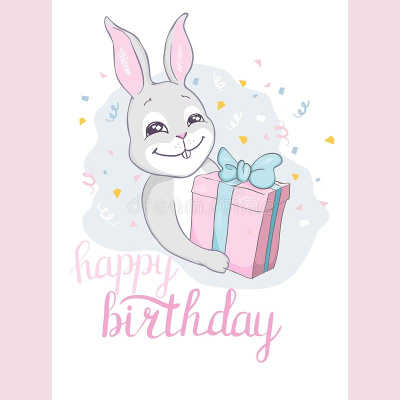 Happy Birthday! Card with flying hot air balloon Bunny, contour style stock illustration