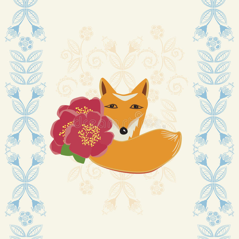 Happy Birthday card with a fox and flowers. Happy Birthday greeting card with a cute little fox holding red flowers between dainty retro blue floral borders vector illustration