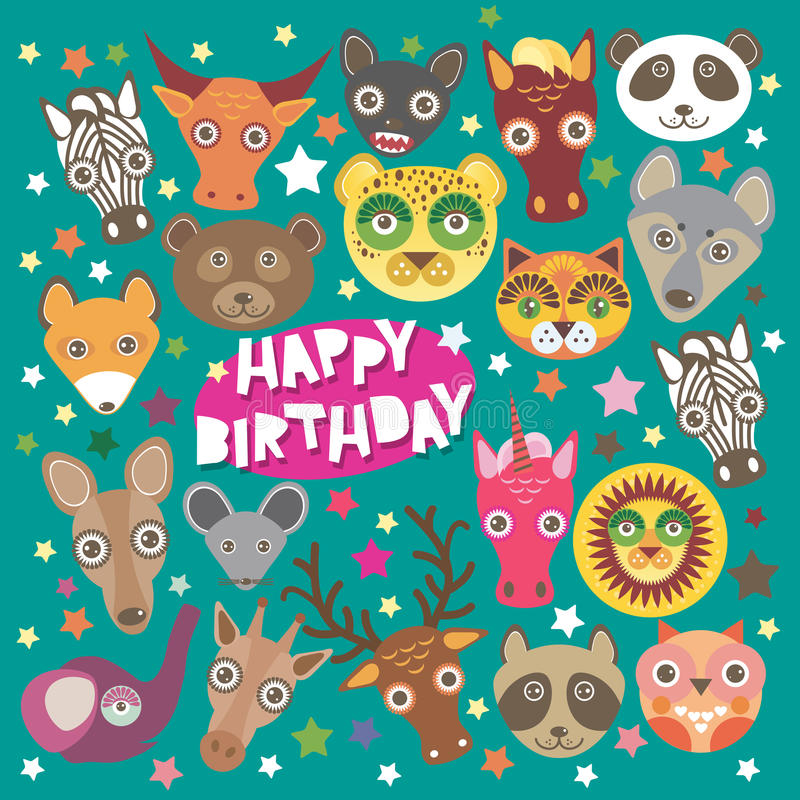 Happy Birthday Card Funny Animals Muzzle, Stock Vector