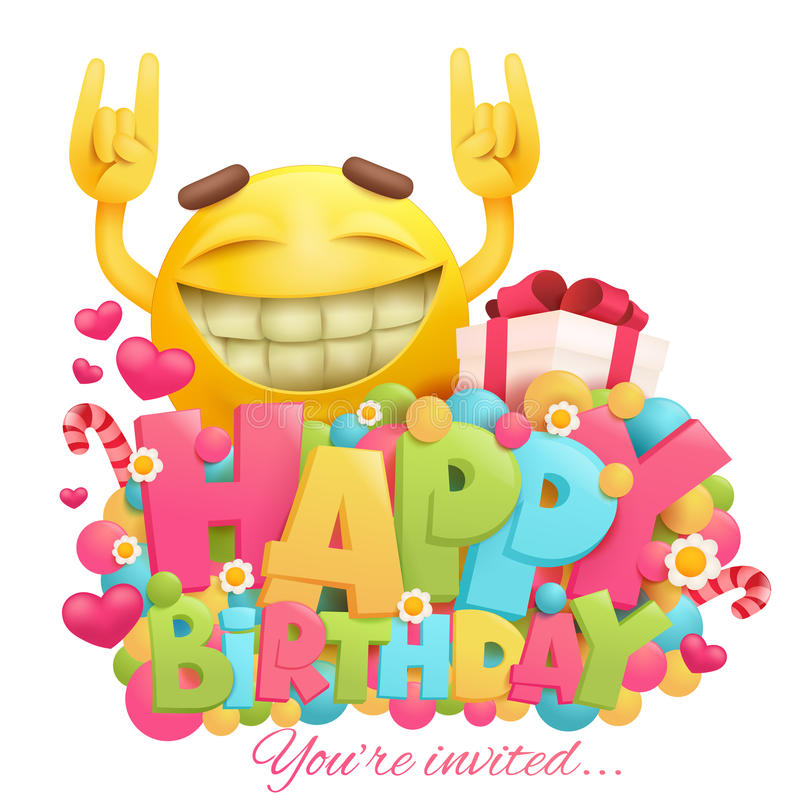 Happy Birthday Card With Funny Cartoon Yellow Emotion Face
