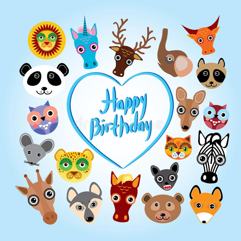 Happy birthday card funny cute animal face stock vector download happy birthday card funny cute animal face stock vector illustration of africa bookmarktalkfo Gallery