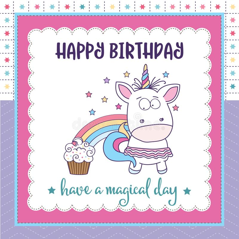 Unicorn And Cat Birthday Card For Granddaughter: Happy Birthday Card With Lovely Baby Girl Unicorn Stock