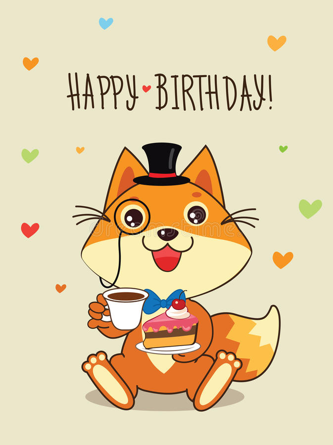 Happy Birthday Card Funny Fox With In A Bowler Hat And Cake In His Hands. Vector Cartoon Animals Illustration. stock illustration