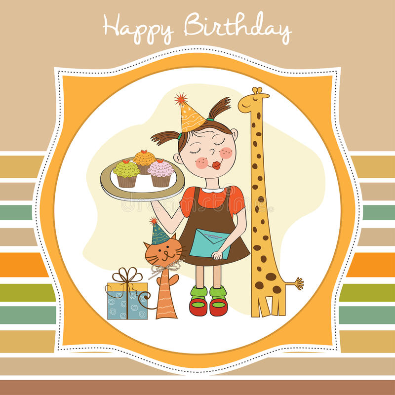 Download Happy Birthday Card With Funny Girl, Animals And Cupcakes Stock Illustration - Image: 29624300