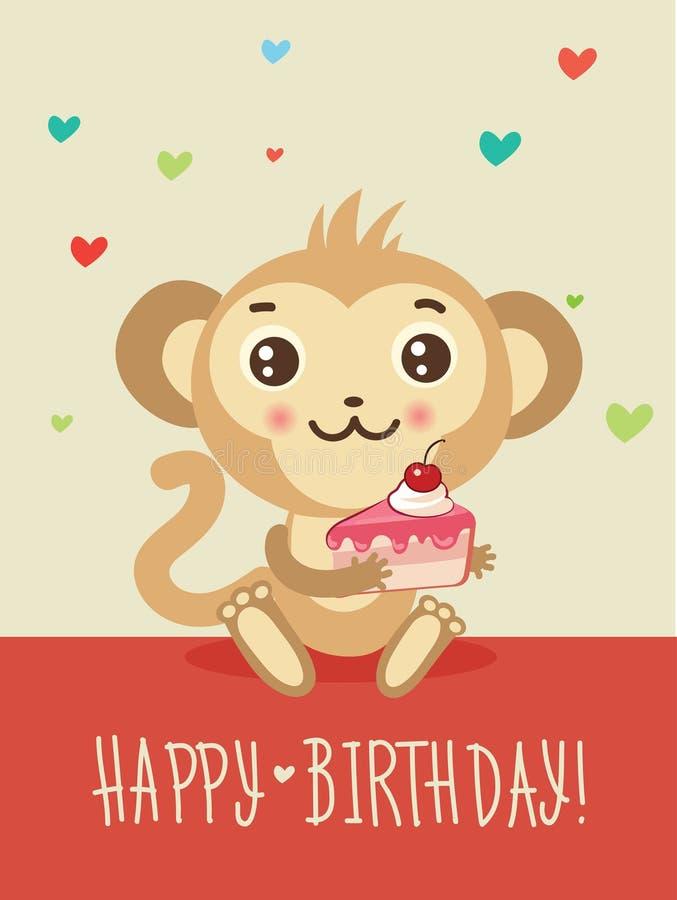 Happy birthday to you обезьяны открытка 88