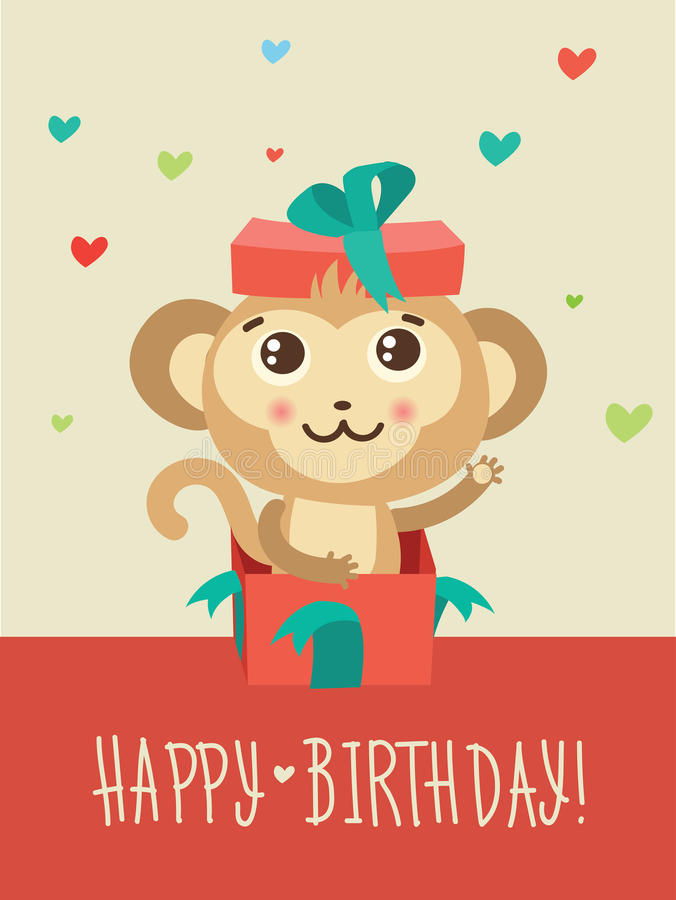 Happy Birthday Card With Funny Monkey Surprise In A Gift Box. Funky Monkey Vector. vector illustration