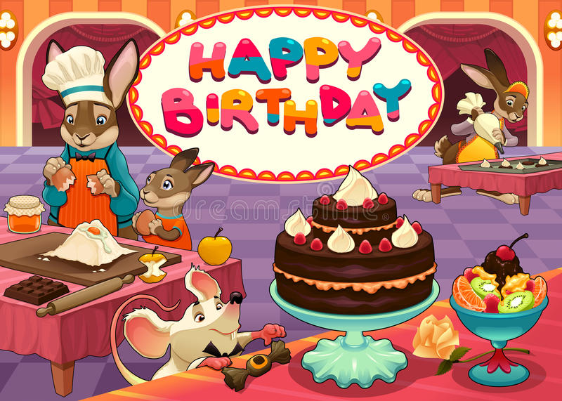 Happy Birthday card with funny pastry chef animals stock images