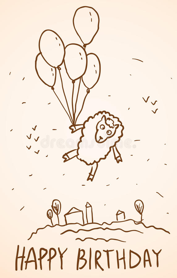 Happy birthday card. Funny sheep with balloons, stock illustration