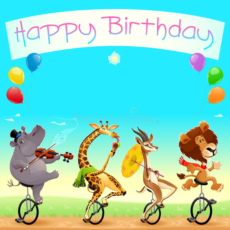 Happy Birthday card with funny wild animals on unicycles royalty free stock photography