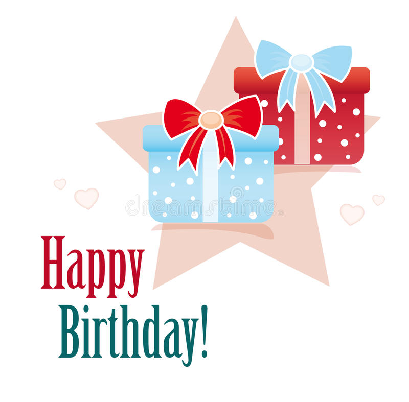 Happy birthday card with gifts stock illustration