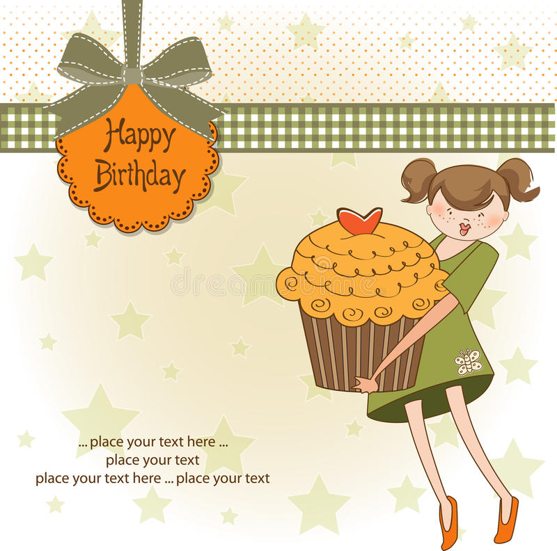 Download Happy Birthday Card With Girl And Cupcake Stock Vector - Image: 21741441