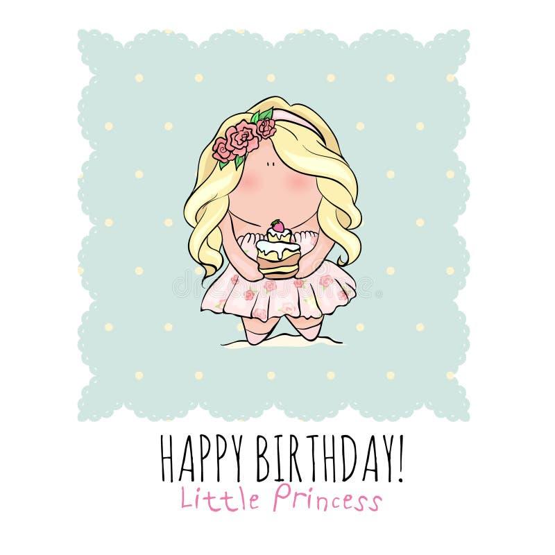 Happy Birthday Card For Girl. Cute Little Girl. Doodle