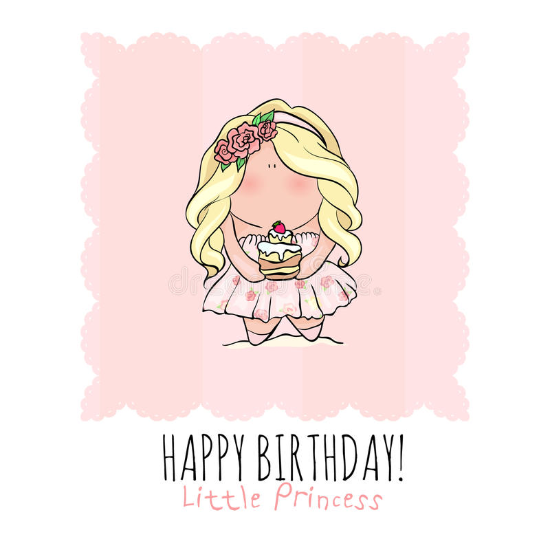 Happy Birthday Card For Girl Cute Little Girl Doodle Stock Vector