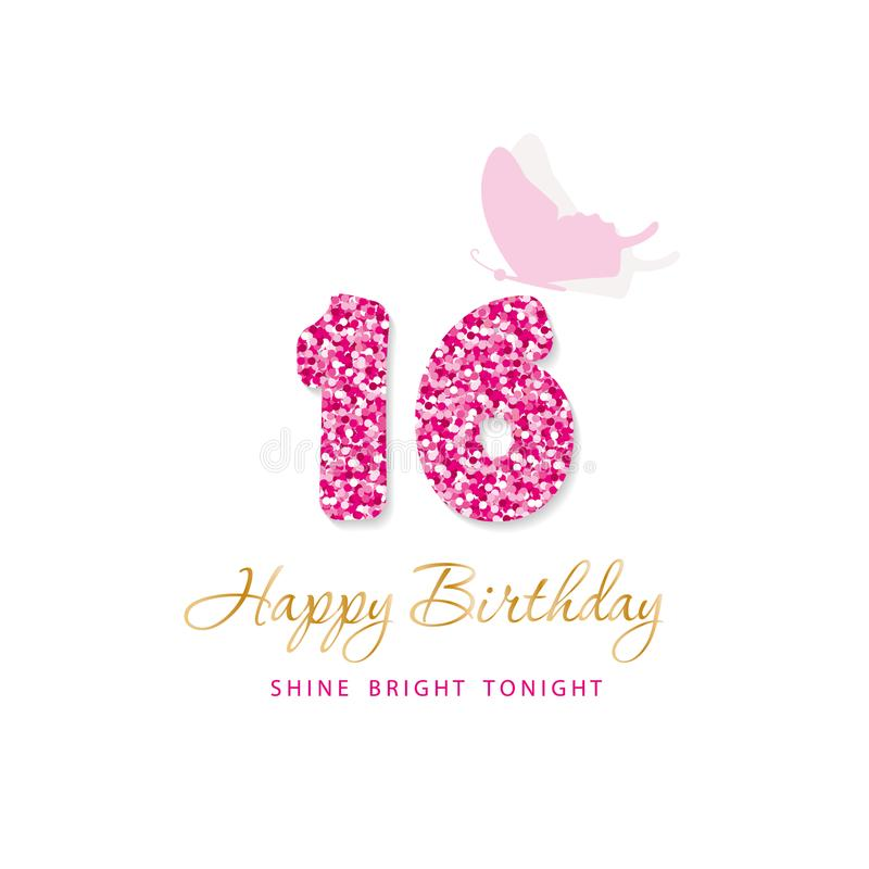 Happy Birthday card for girls. Sweet 16 glitter numbers. Pink and gold. Vector royalty free illustration