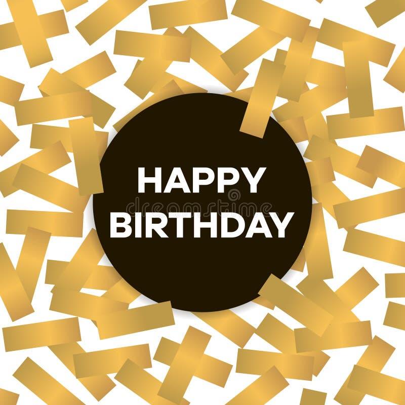 Happy birthday card with golden confetti. Vector illustration royalty free illustration