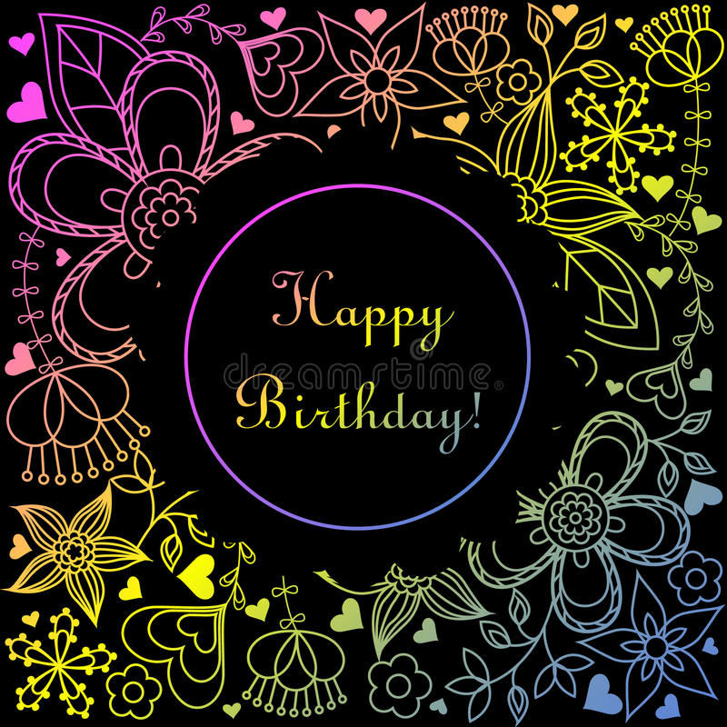 Happy birthday card with gradient hearts and flowers. Vector happy birthday card with gradient hearts and flowers vector illustration