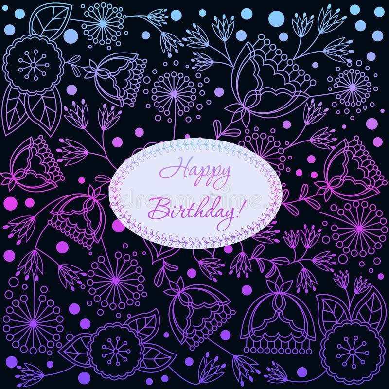 Happy birthday card with gradient poppy dandellion bell flowers. Vector happy birthday card with gradient poppy dandellion bell flowers vector illustration