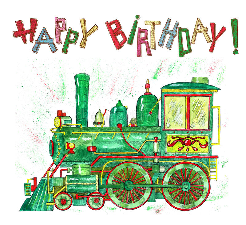 Happy birthday card with green train for kids stock illustration download happy birthday card with green train for kids stock illustration illustration of etching bookmarktalkfo Image collections