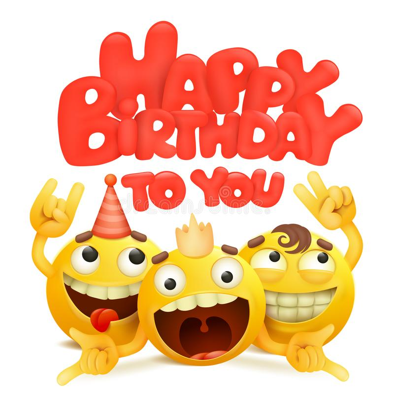 Happy birthday card with group of yellow emoji cartoon characters. royalty free illustration