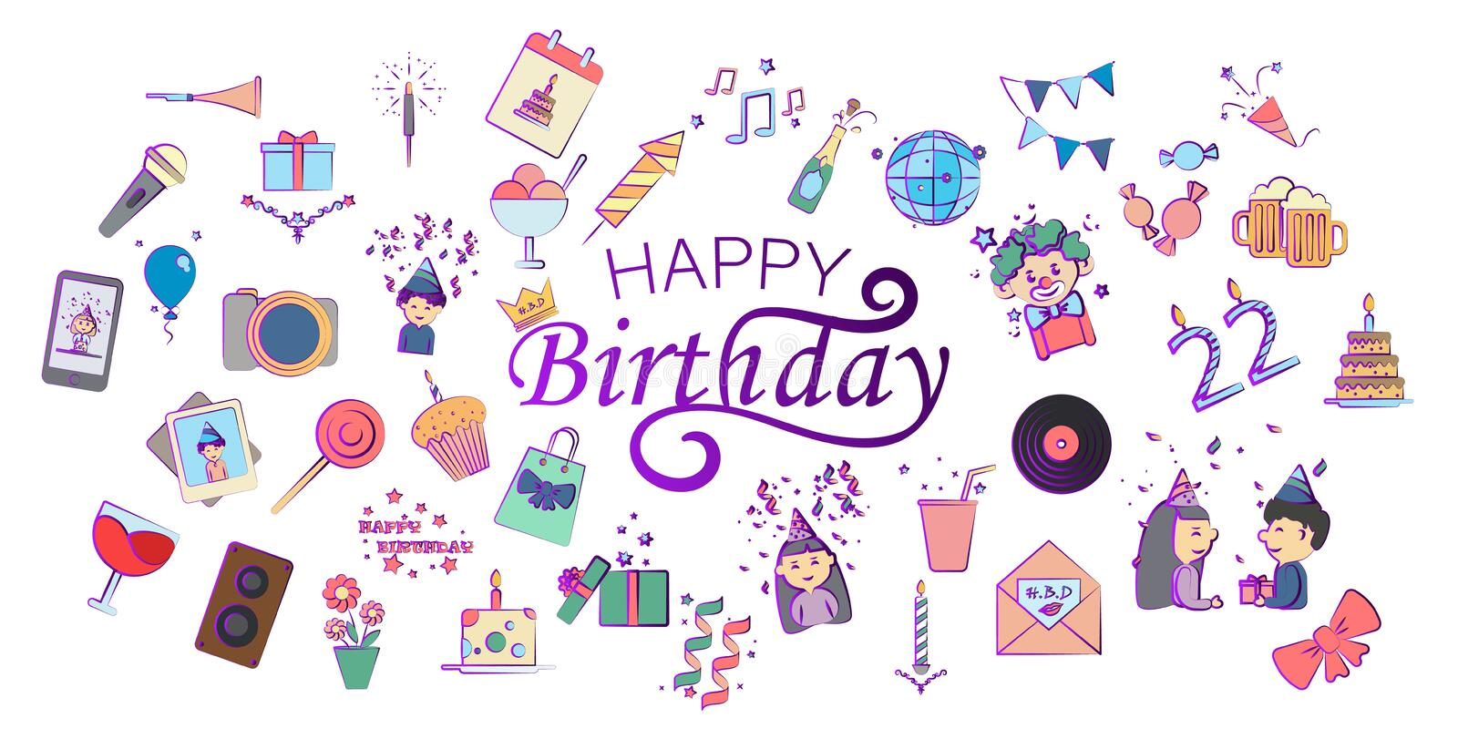 Happy Birthday Card, hand drawn design elements, gifts, wallpapers, web template, card, invitation stock illustration