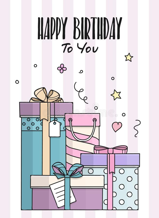 Happy Birthday card with hand drawn doodle gift boxes. Lots of presents in flat style. Vector. vector illustration
