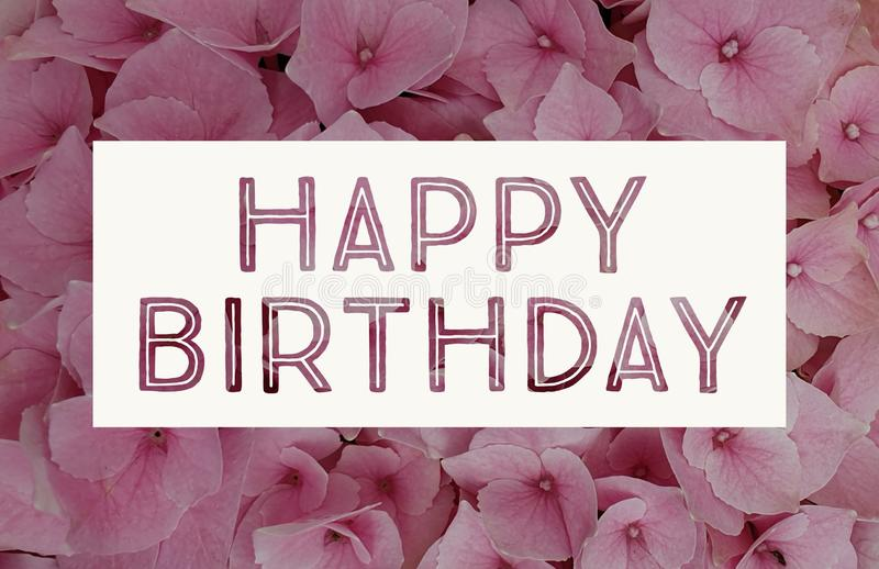HAPPY BIRTHDAY CARD. With pink flowers and heart stock photography