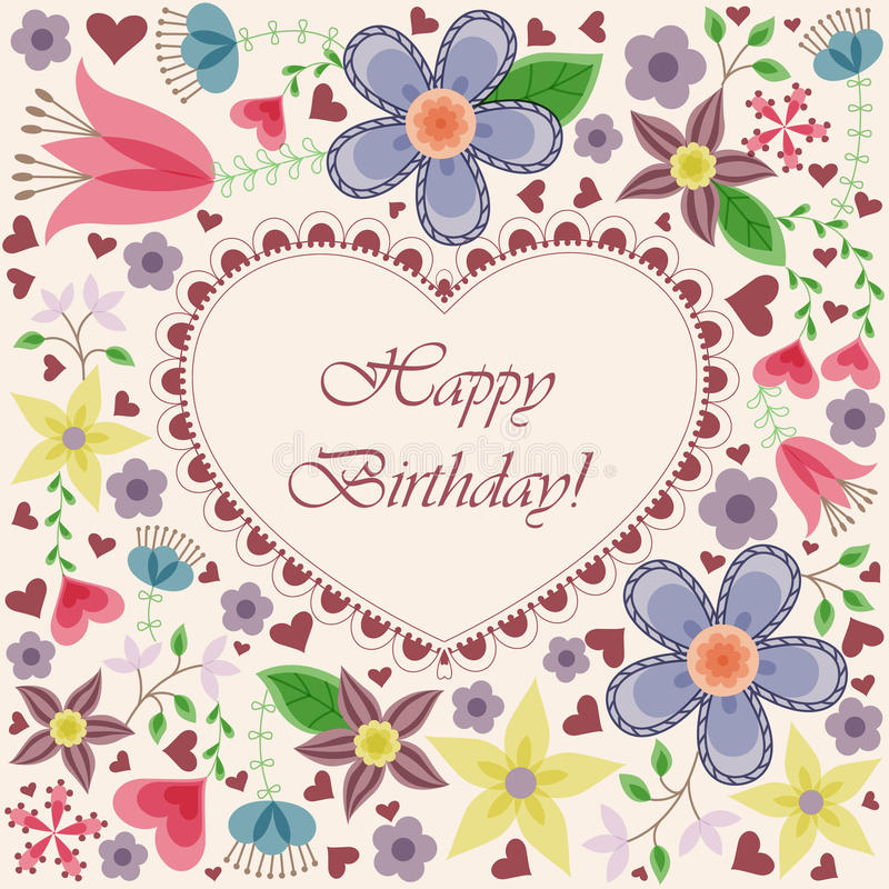 Happy birthday card with heart flowers. Vector happy birthday card with heart flowers royalty free illustration