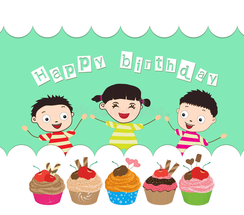 Happy birthday card with kids and cupcakes stock vector download happy birthday card with kids and cupcakes stock vector illustration of couverture first bookmarktalkfo Gallery
