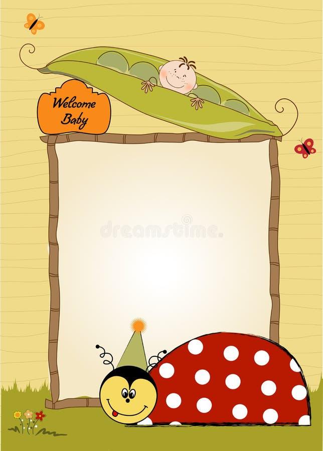 Happy birthday card with ladybug vector illustration