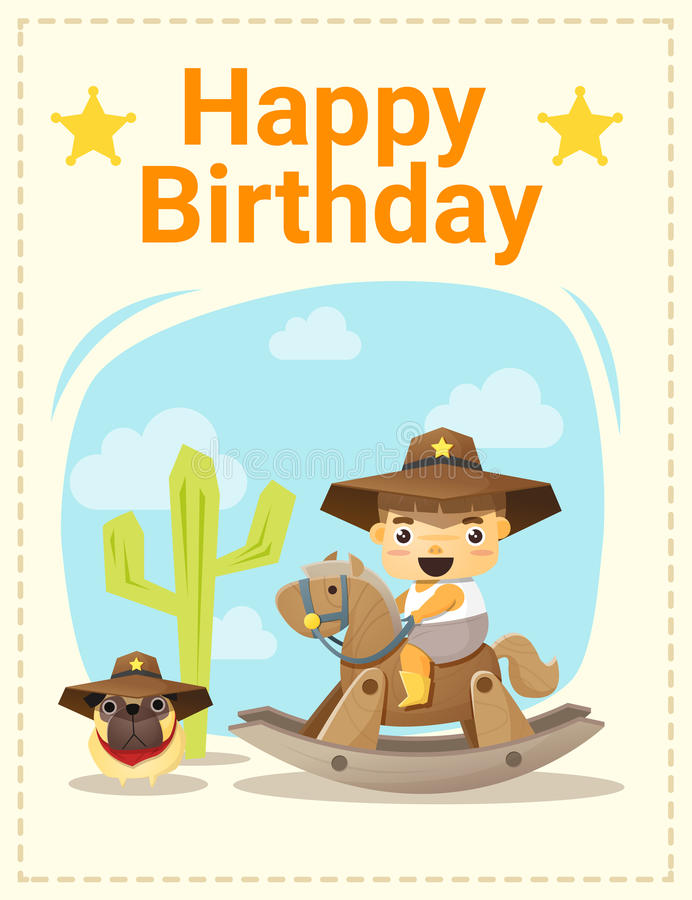 Happy Birthday Card With Little Boy And Friend Stock Vector