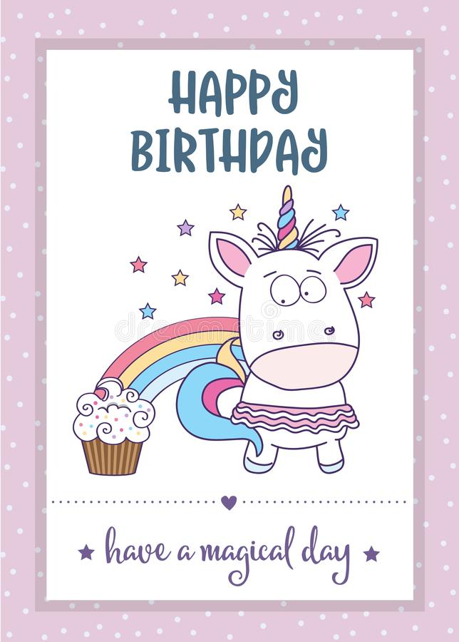 Happy birthday card with lovely baby girl unicorn stock vector download happy birthday card with lovely baby girl unicorn stock vector illustration of delicate bookmarktalkfo Choice Image